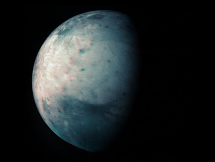 Infrared view of Jupiter's icy moon Ganymede obtained by the Jovian Infrared Auroral Mapper (JIRAM) instrument aboard NASA's Juno spacecraft.