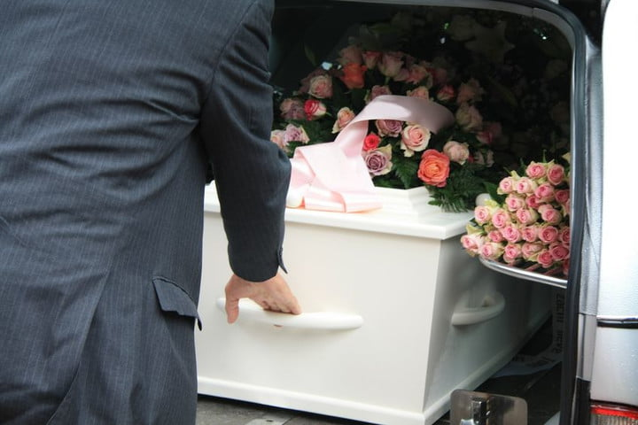 social media accounts after death white coffin funeral