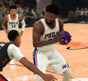 Joel Embiid of the 76ers in NBA 2K22.
