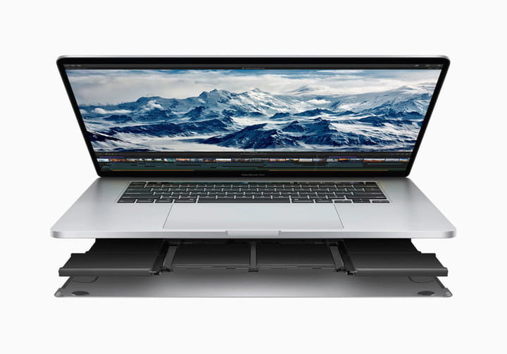 A 16-inch MacBook Pro render showing the bottom chassis combing off against a white background.