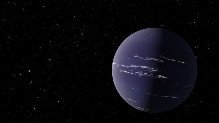 Artist's rendering of TOI-1231 b, a Neptune-like planet about 90 light-years away from Earth.