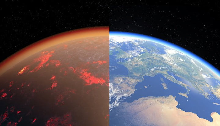 Artist's impression of a hot, thick CO2-rich atmosphere (left) and present-day Earth.