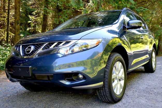 2012 nissan murano sl awd review crossover exterior front side angle