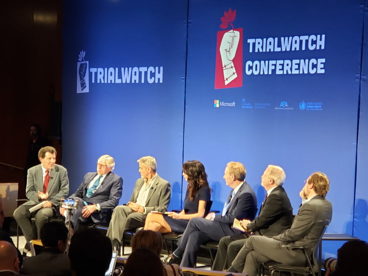 A panel including George and Amal Clooney and Microsoft President Brad Smith discuss the new Trial Watch app at Columbia University.