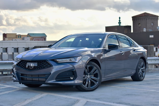 2021 acura tlx review front three quarter