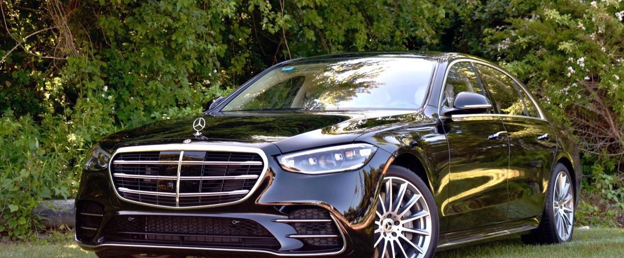 A broad grille and low stance give the 2021 Mercedes Benz S Class an aggressive look.