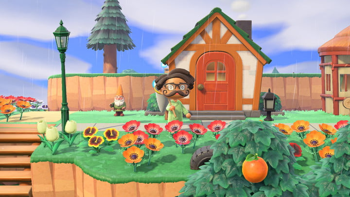Character holding net in Animal Crossing: New Horizons.