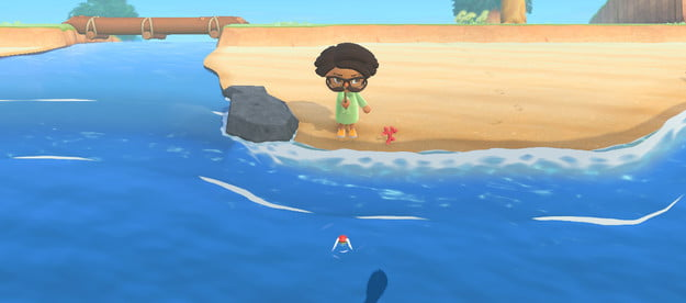 Catching a fish in Animal Crossing: New Horizons.