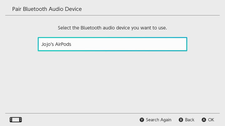 Connecting AirPods to Nintendo Switch.