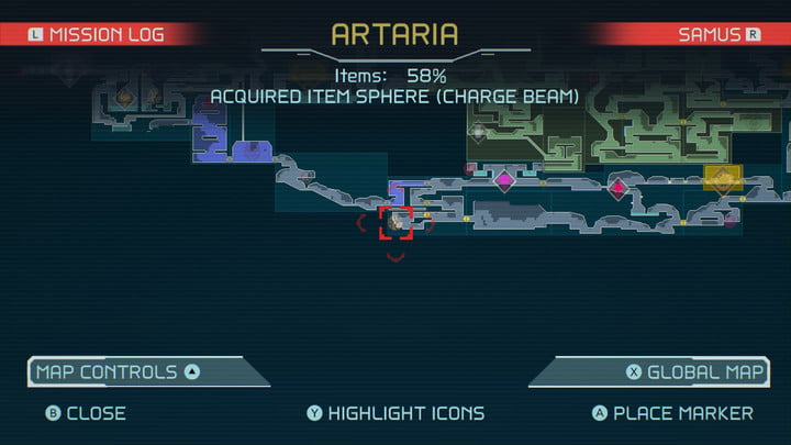 Map of Charge Beam in Metroid Dread.