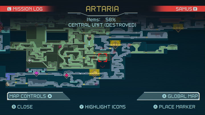Map of Spider Magnet in Metroid Dread.