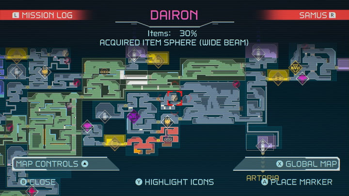 Map of Wide Beam in Metroid Dread.
