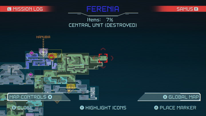 Map of Wave Beam in Metroid Dread.
