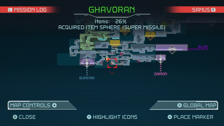 Map of Super Missile in Metroid Dread.