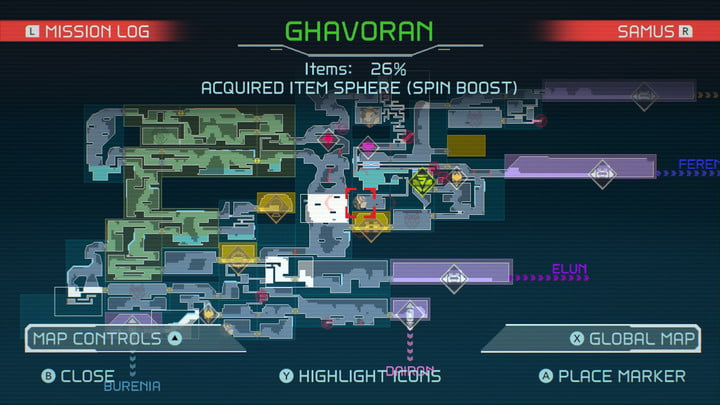 Map of Spin Boost in Metroid Dread.