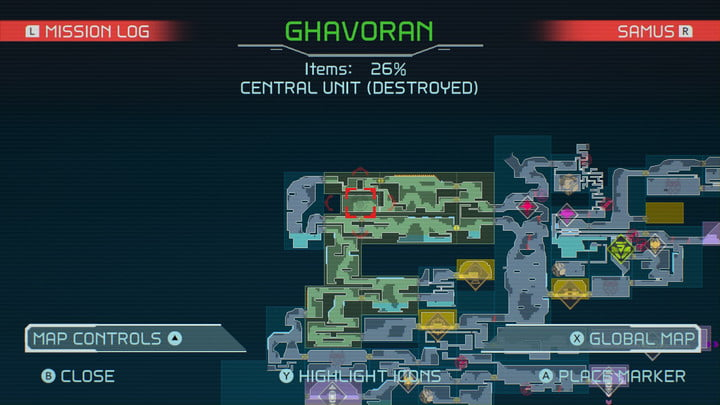 Map of Ice Missile in Metroid Dread.