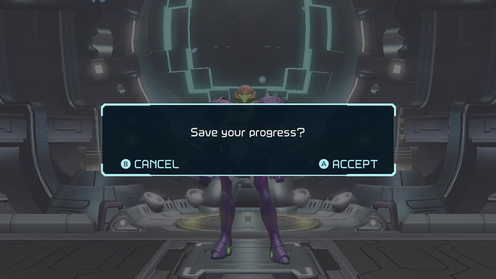 A save room in Metroid Dread.