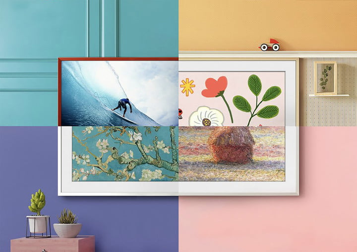 """Four squares showing the Samsung """"The Frame"""" tv."""