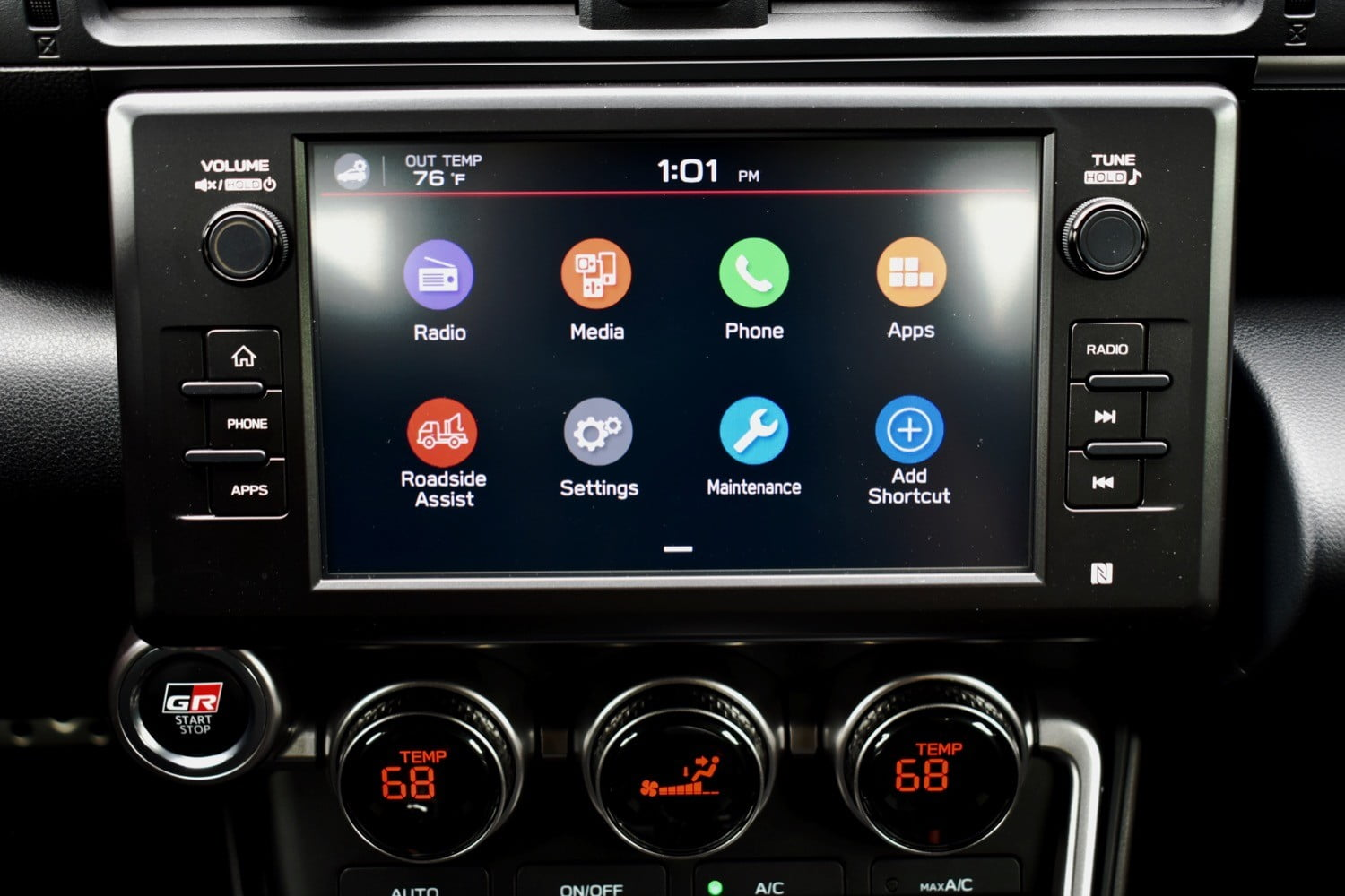 The 2022 Toyota GR 86's touchscreen.
