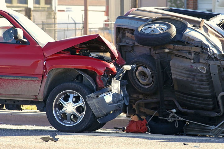 new car tech raises crash repair costs 2100417  wreck with a rolled over