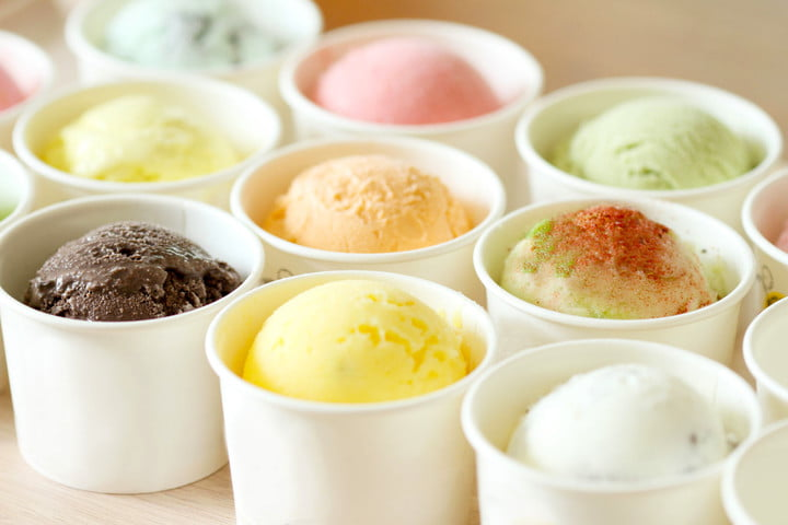 space station astronauts tasty treat 32606149  sweet and colorful ice cream scoops in white cups