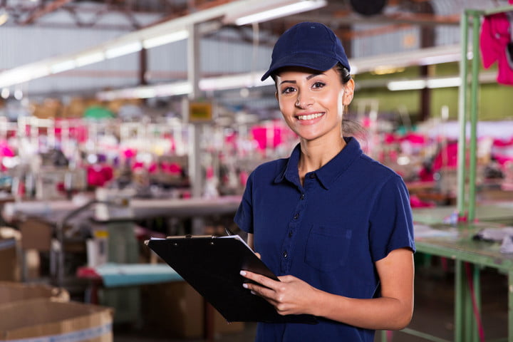amazon patent clothing on demand factory 32754477  beautiful female worker with clipboard