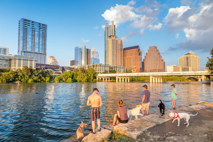 austin texas smart thermostats 36661069  people and dogs with a view of downtown skyline