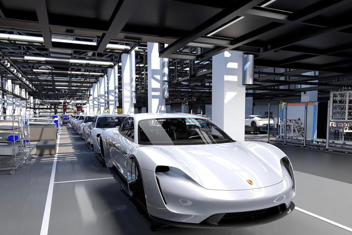 Porsche Taycan assembly line rendering