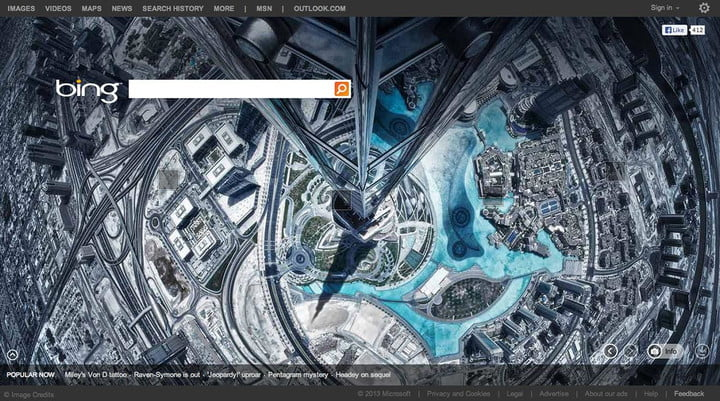 bing homepage to showcase images from 500px photo site