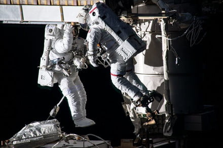 Astronauts deploy a second new solar array for the International Space Station