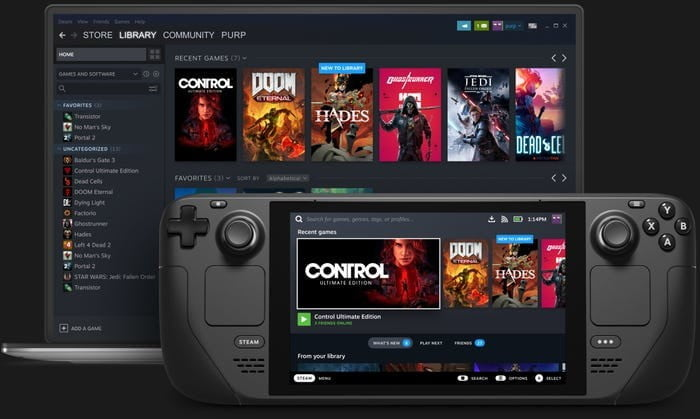 The Steam Deck handheld and the Steam platform of games.