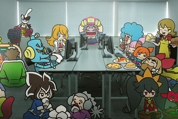 Wario and his friends sit around a table in WarioWare: Get It Together!
