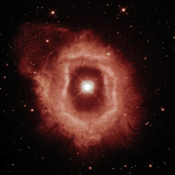 This view of AG Carinae showcases the details of the ionised hydrogen and ionised nitrogen emissions from the nebula (seen here in red).