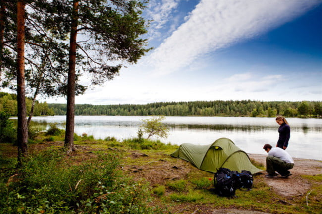 luvbyrd dating app a couple camping on lake landscape