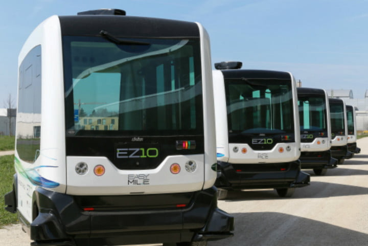 report ai jobs at risk a driverless shuttle bus made by easymile alain herzog