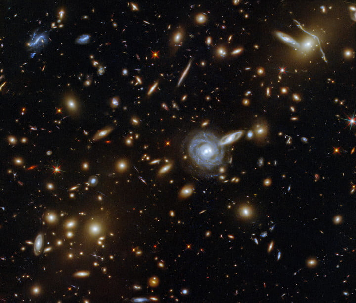 This packed image taken with the NASA/ESA Hubble Space Telescope showcases the galaxy cluster ACO S 295, as well as a jostling crowd of background galaxies and foreground stars. Galaxies of all shapes and sizes populate this image, ranging from stately spirals to fuzzy ellipticals. This galactic menagerie boasts a range of orientations and sizes, with spiral galaxies such as the one at the center of this image appearing almost face on, and some edge-on spiral galaxies visible only as thin slivers of light.