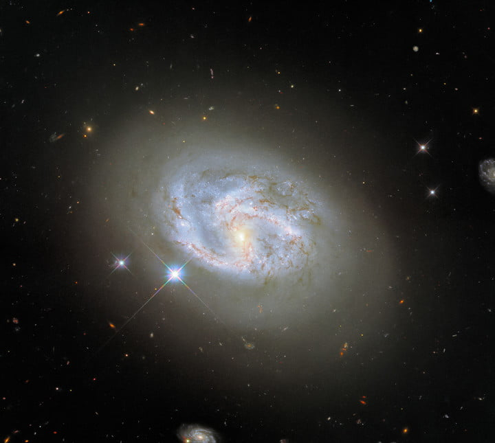 This image, taken with Hubble's Wide Field Camera 3, features the spiral galaxy NGC 4680. Two other galaxies, at the far right and bottom center of the image, flank NGC 4680. NGC 4680 enjoyed a wave of attention in 1997, as it played host to a supernova explosion known as SN 1997bp. Australian amateur astronomer Robert Evans identified the supernova and has identified an extraordinary 42 supernova explosions.
