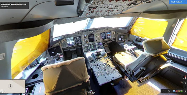 street view board the a380 cockpit