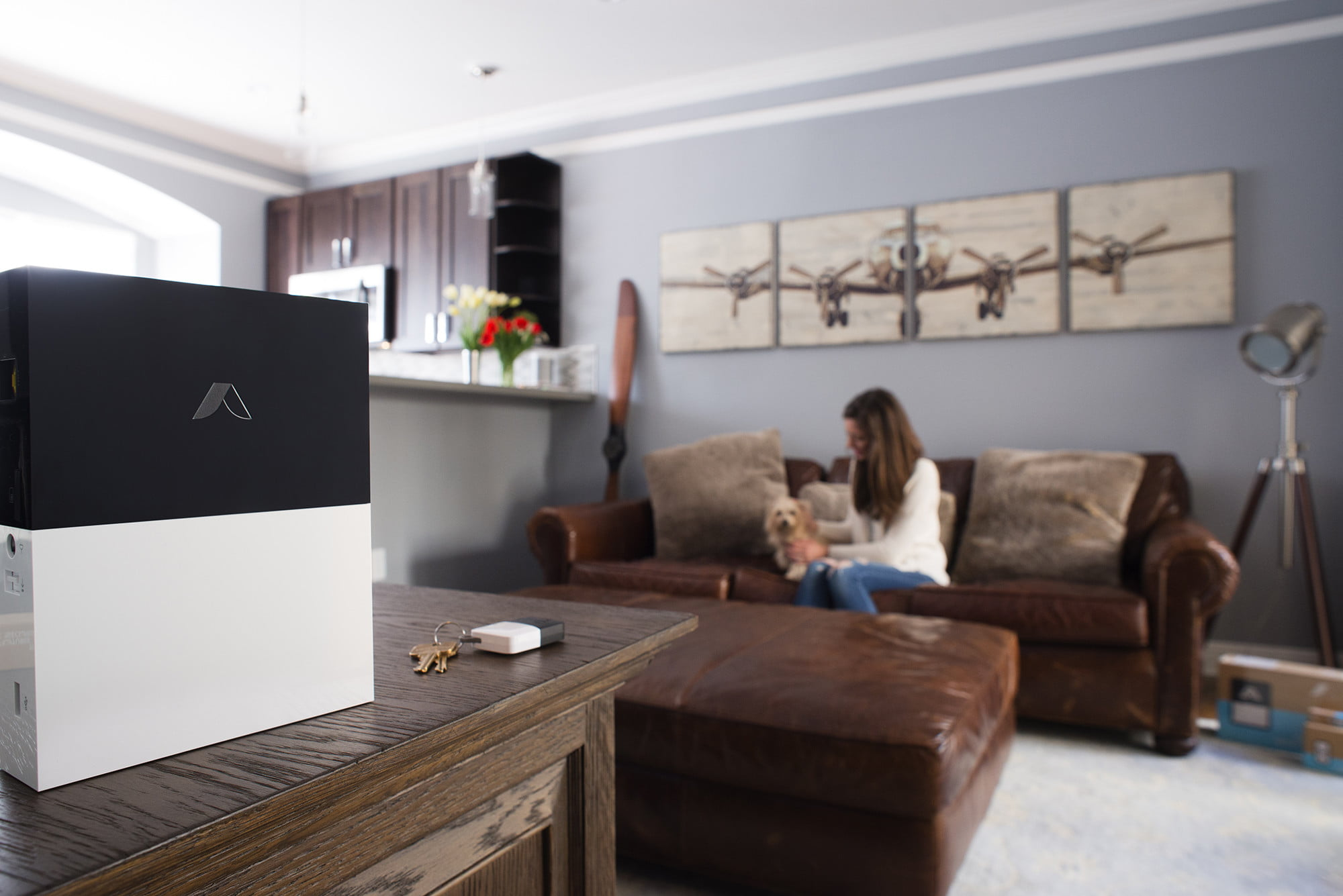 abode systems gateway upgrade essentials kit  lifestyle livingroom high res