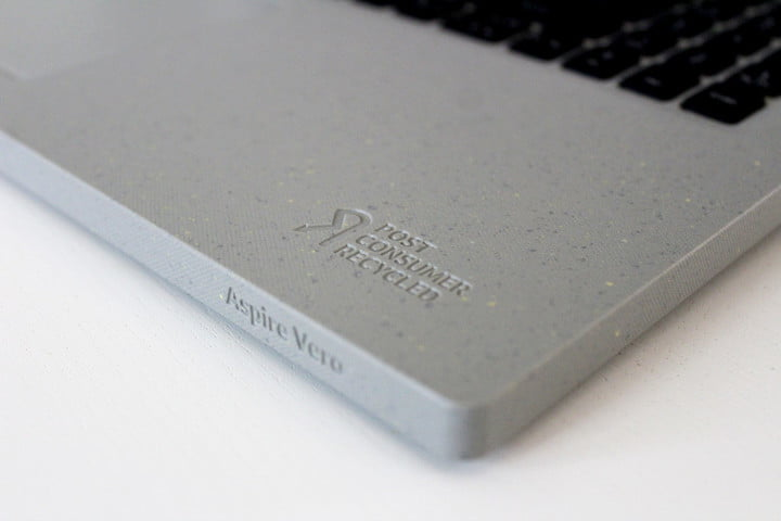 The logo for post-consumer recycled, stamped into the chassis of the Aspire Vero.