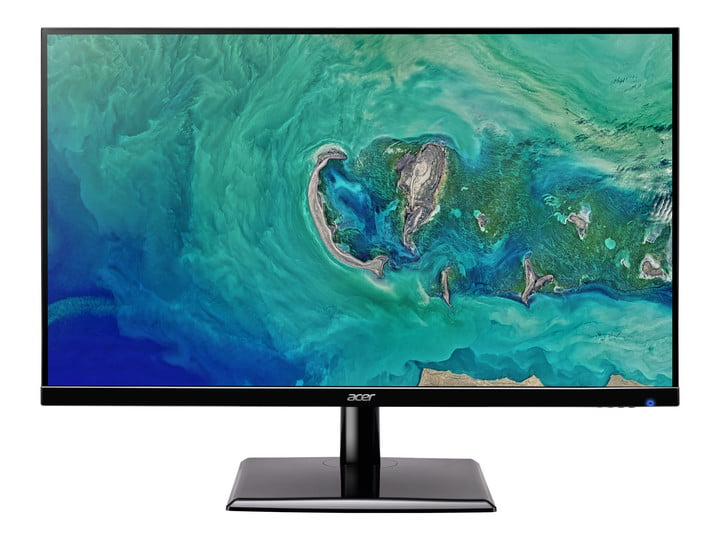 The 27-inch Acer EH273 LCD monitor with a top view of an island on the screen.