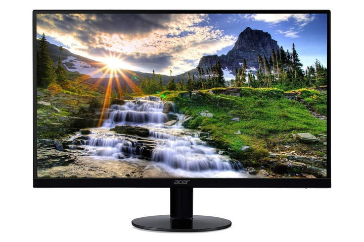 A turned on Acer SB220Q FHD IPS Widescreen monitor facing forward and displaying a desktop background of a nature scene.