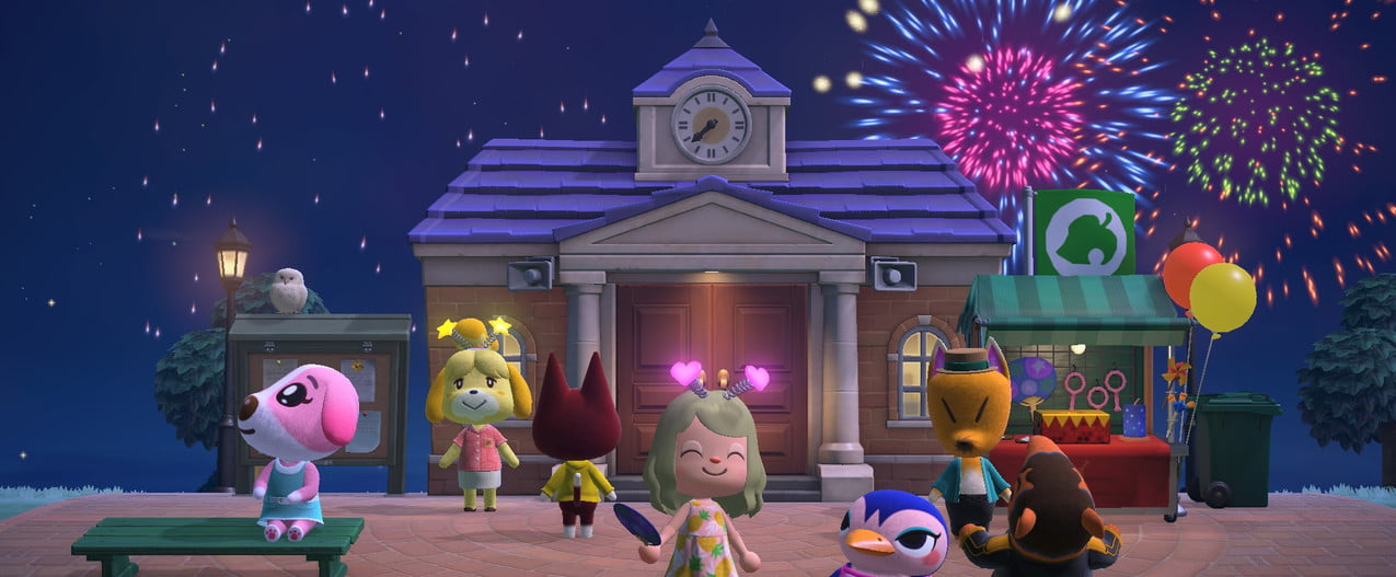 Villagers celebrating with fireworks in front of Town Hall.