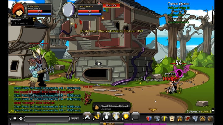 A rogue fighting in a town in AdventureQuest.