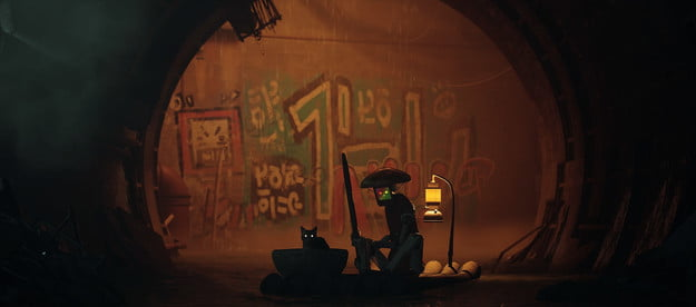 A cat sits in a dark tunnel in Stray.