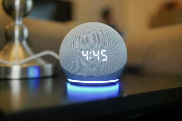 Amazon Echo Dot (4th Gen) with Clock front