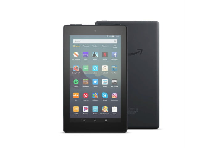 The Amazon Fire 7 tablet, viewed from the front and the back, with apps displayed on the screen.