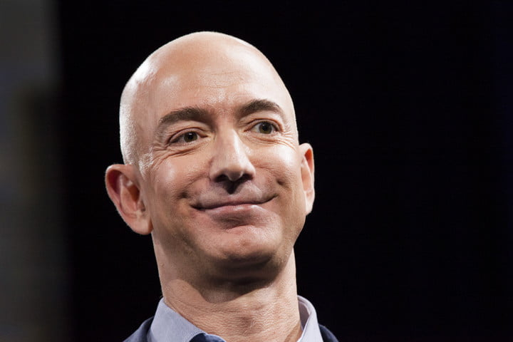 Close-up of Amazon.com founder and CEO Jeff Bezos on stage