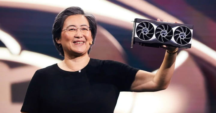 Lisa Su, the CEO of AMD, pictured holding an AMD Radeon RX 6900 XT graphics card.