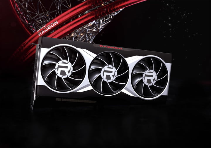 AMD's RX 6900 XT graphics card over a black, red, and silver background.